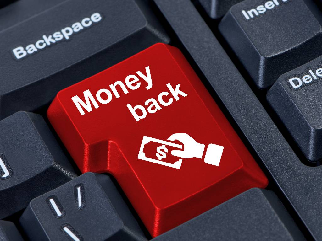 "keyboard with red ""money back"" key"