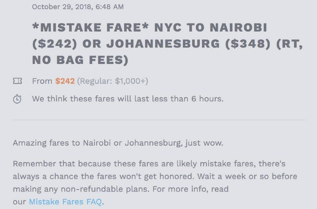 mistake fare alert to Nairobi