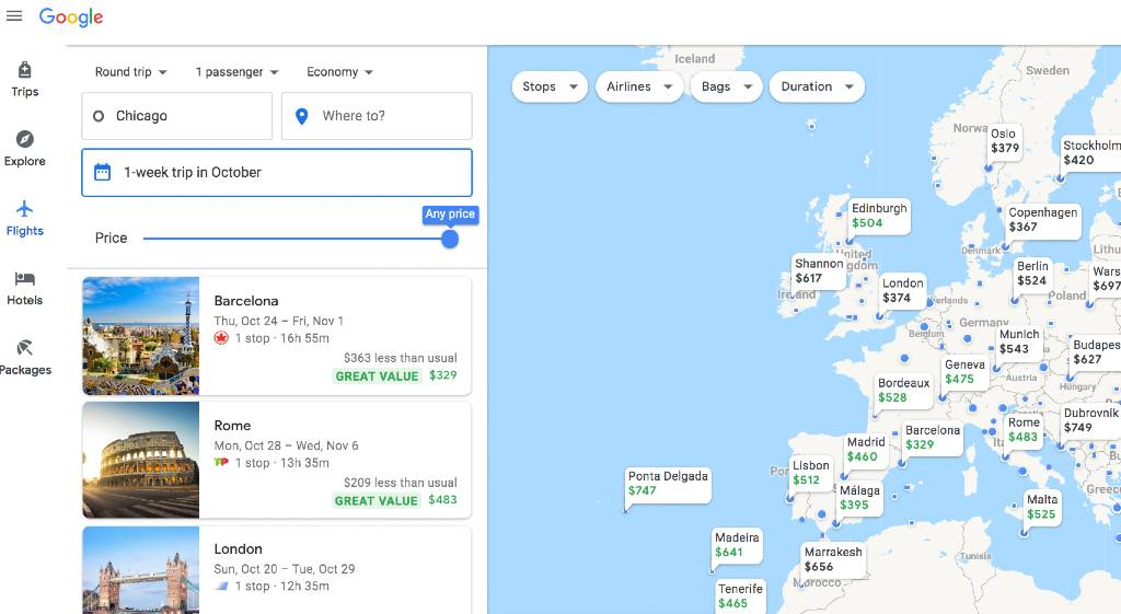 using Google Explore map