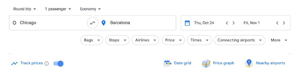 tracking prices on Google Flights