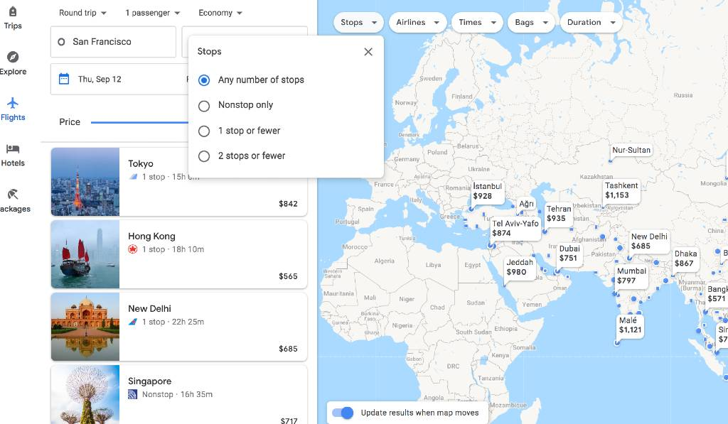 filtering results on the Google Flights Explore map