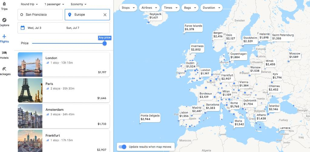 searching Europe on the Google Flights Explore map