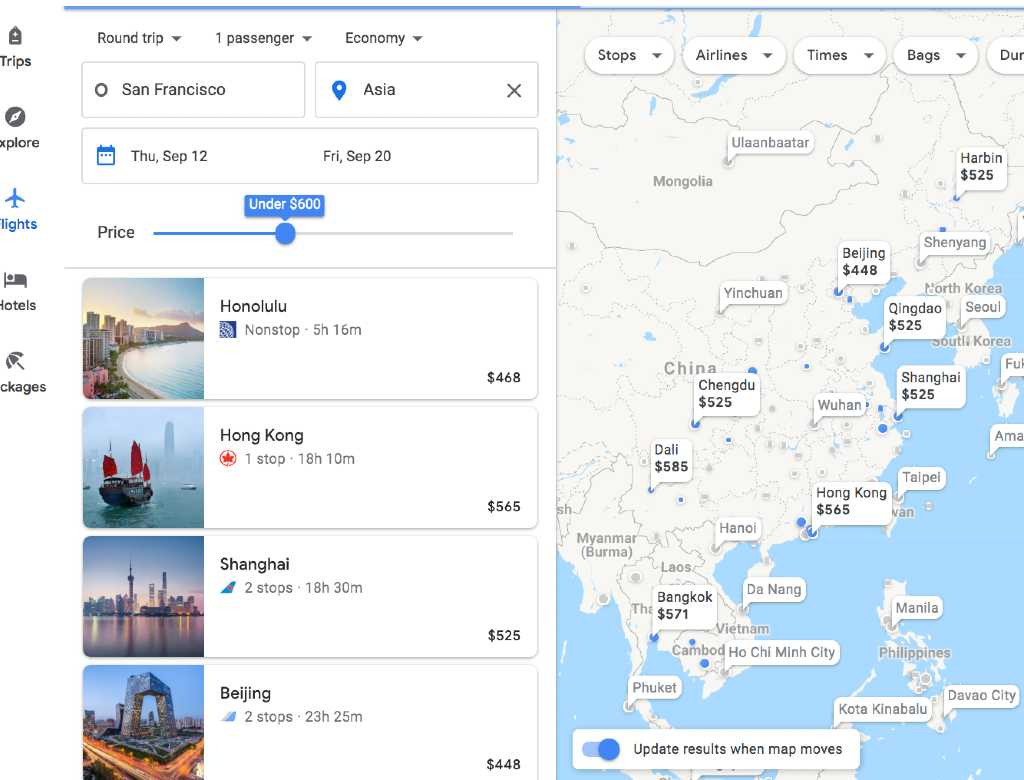 filtering by price on the Google Flights Explore map