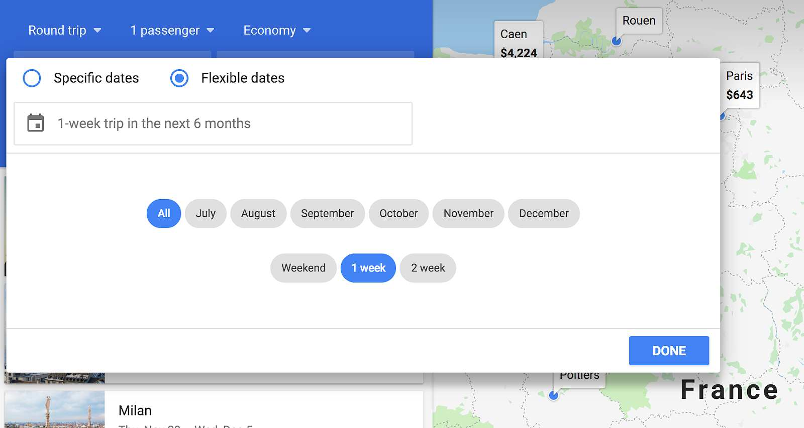searching flexible dates on google flights