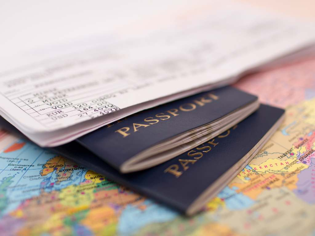 passport and map.