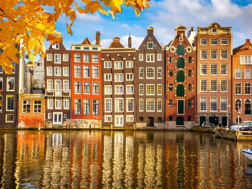 Amsterdam canal houses in fall