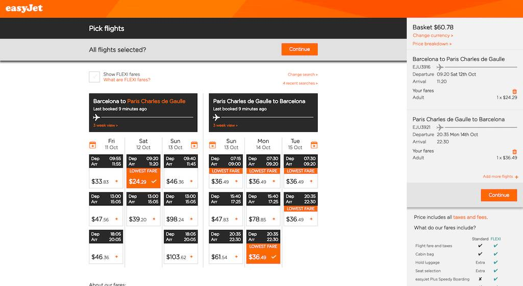 screenshot of booking EasyJet flight.