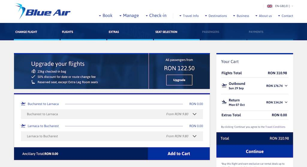 screenshot of booking Blue Air flight.