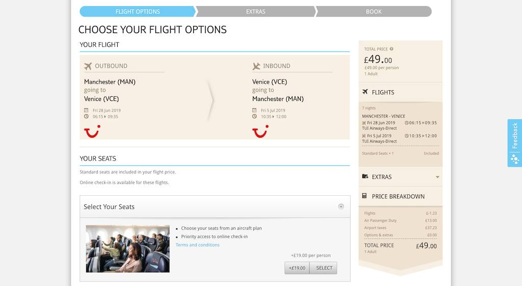 screenshot of booking TUI flight.