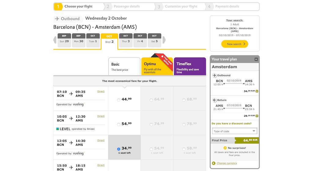screenshot of booking Vueling flight.