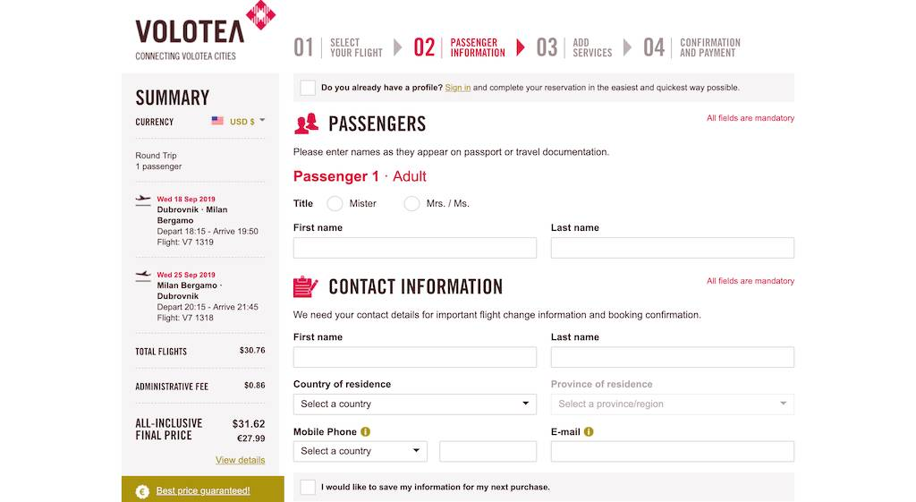 screenshot of booking Volotea flight.