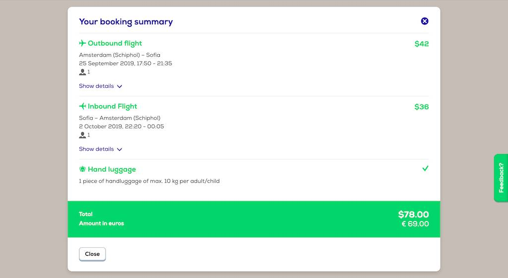 screenshot of booking Transavia flight.