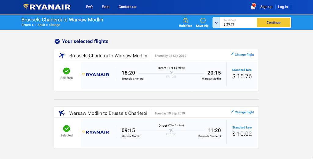 screenshot of booking Ryanair flight.