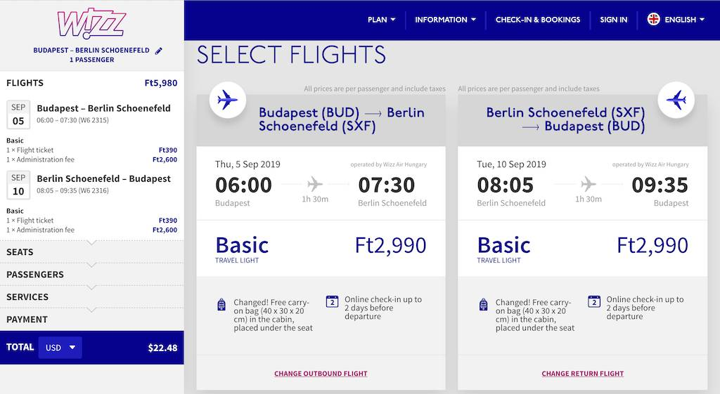 screenshot of booking Wizz Air flight.