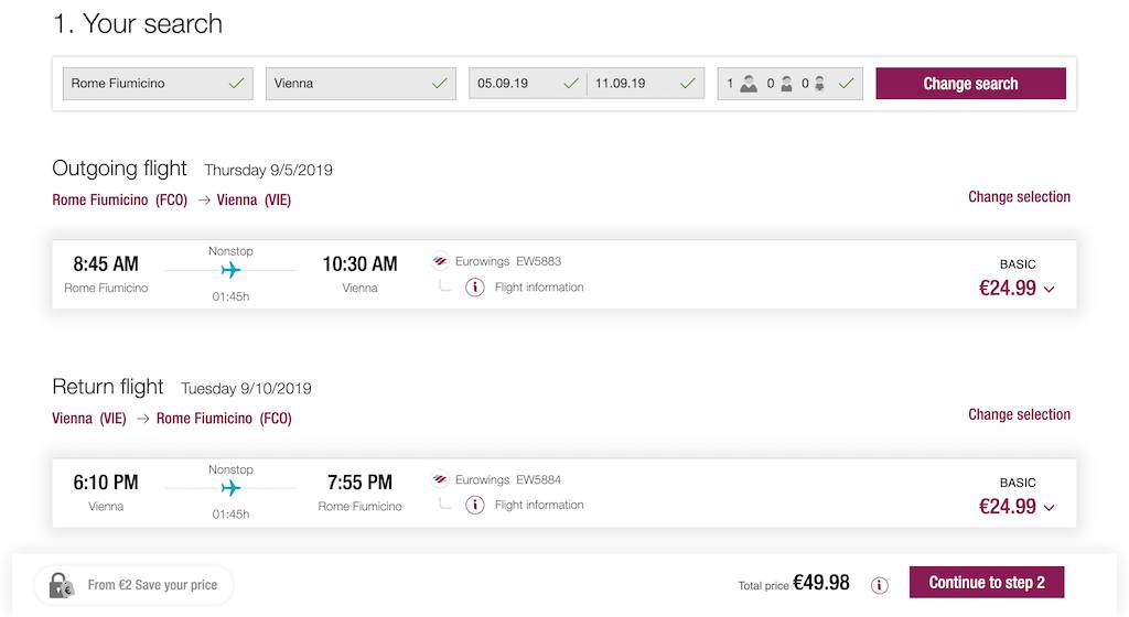 screenshot of booking Eurowing flight.