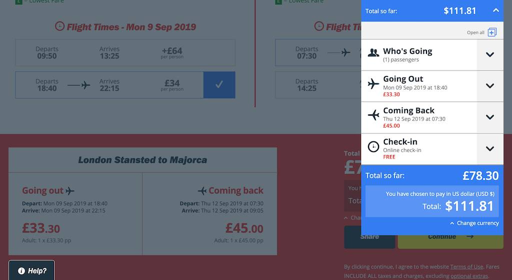 screenshot of booking Jet2 flight.