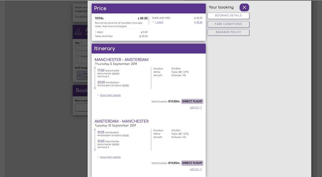 screenshot of booking Flybe flight.
