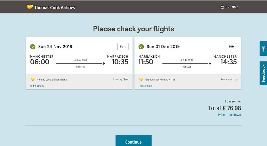 screenshot of booking Thomas Cook flight.
