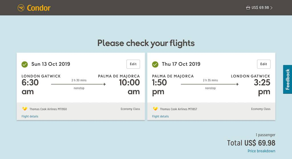 screenshot of booking Condor flight.