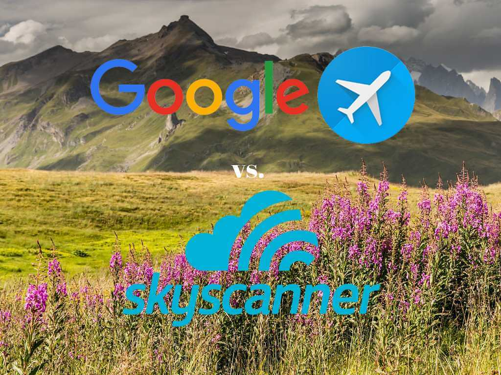 field in iceland with google flights and skyscanner logos.