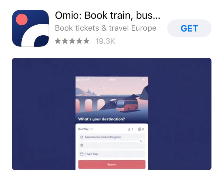 screenshot of Omio app.