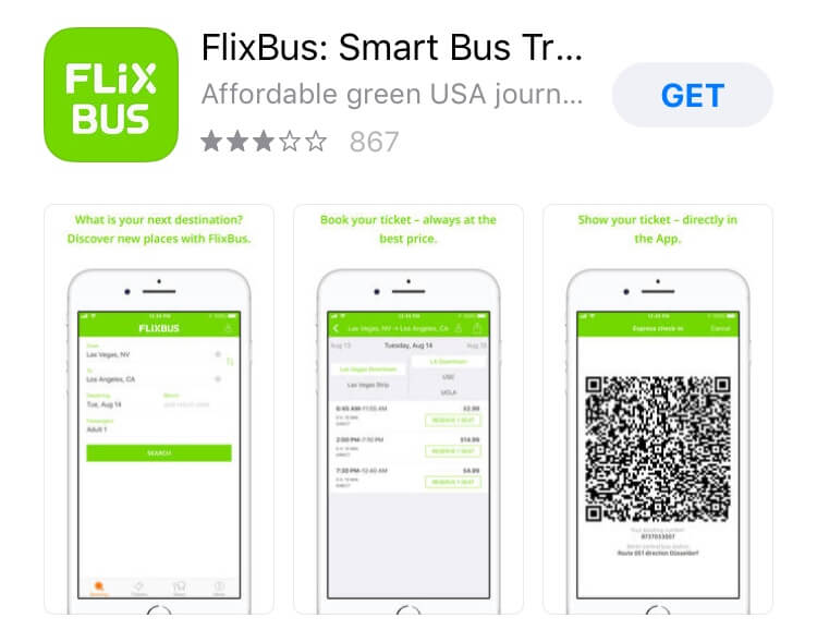screenshot of Flixbus app.