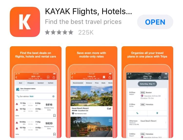 screenshot of Kayak app