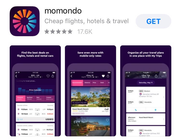 screenshot of momondo app