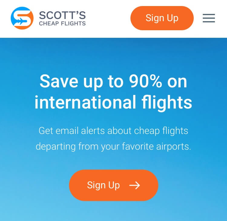 screenshot of Scott's Cheap Flights homepage