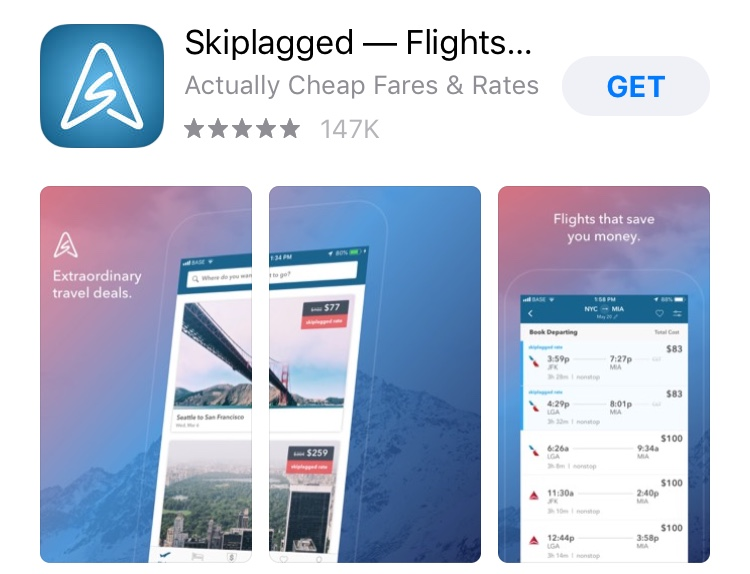 screenshot of Skiplagged app.
