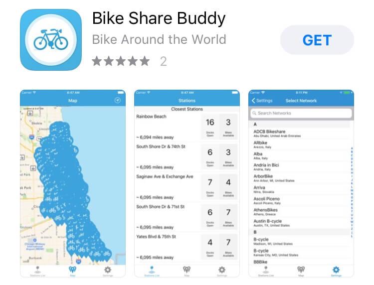 screenshot of Bike Share Buddy app.