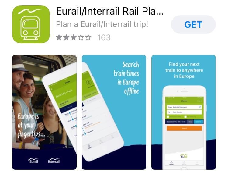 screenshot of Eurail app.