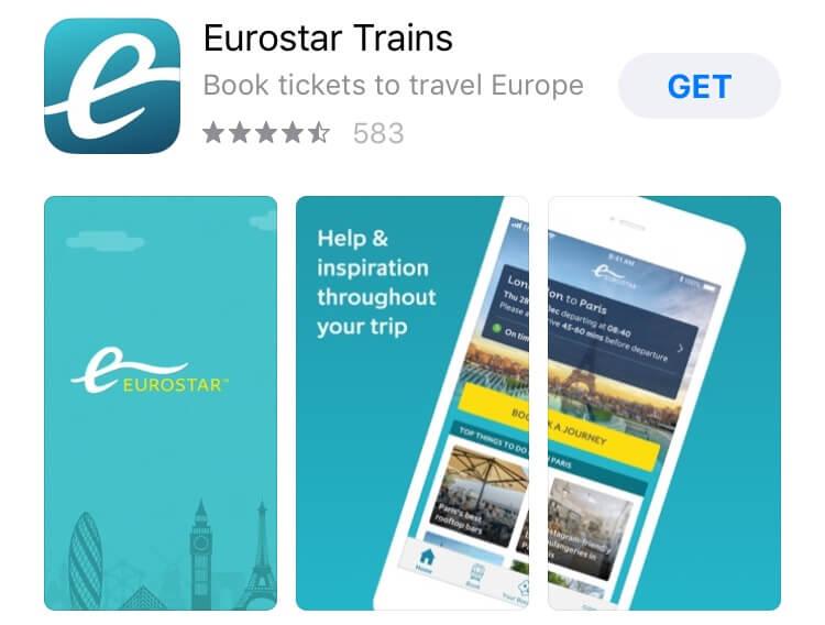 screenshot of Eurostar app.