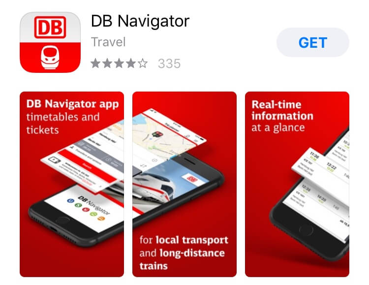 screenshot of DB Navigator app.