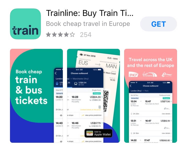 screenshot of Trailine app.