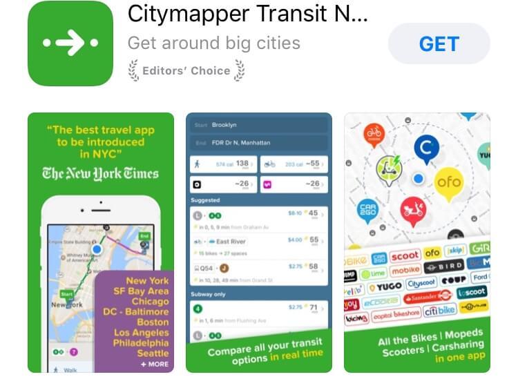 screenshot of Citymapper app.