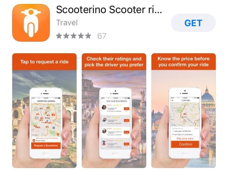 screenshot of Scooterino app.