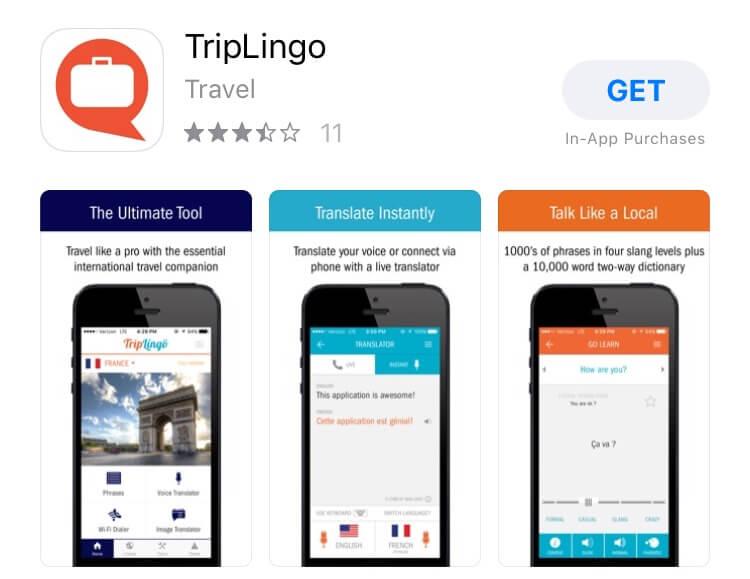 screenshot of TripLingo app.