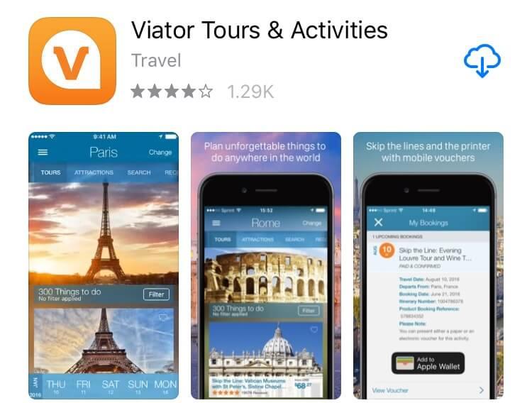 screenshot of Viator app.