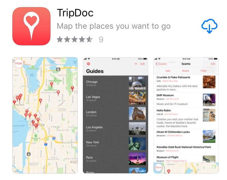 screenshot of Tripdoc app.