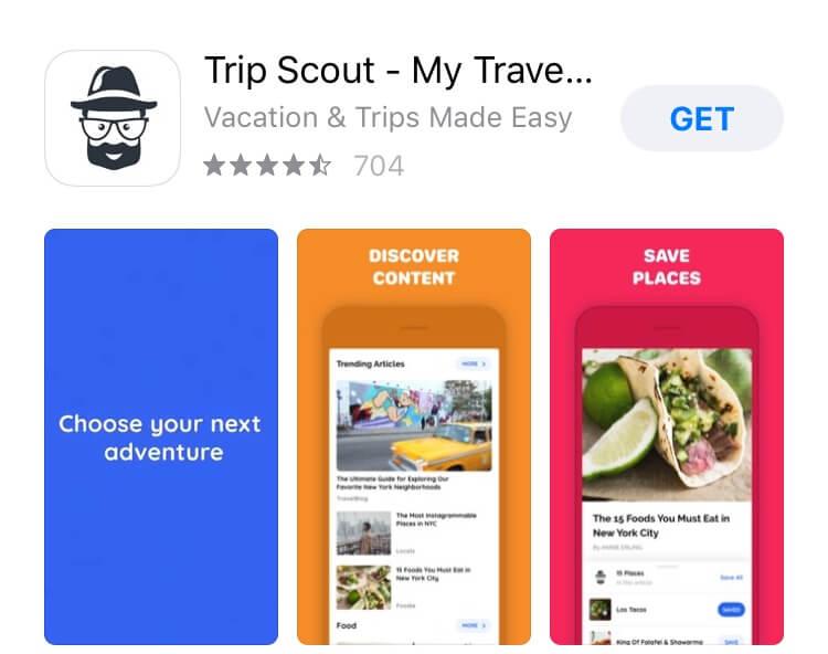 screenshot of TripScout app.
