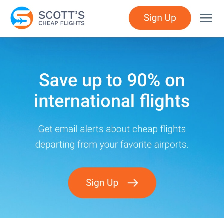 screenshot of Scott's Cheap Flights homepage.