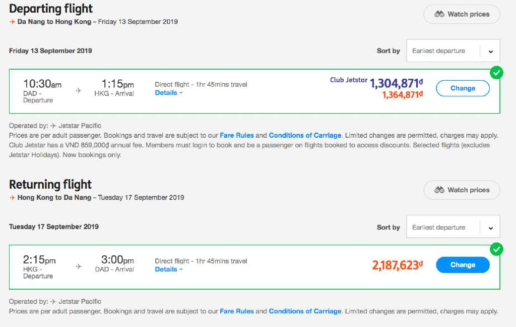 flight search on Jetstar.