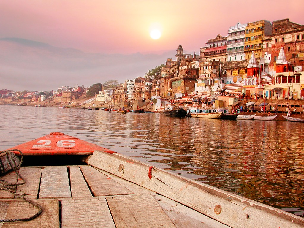 boat floating on the River Ganges in India.