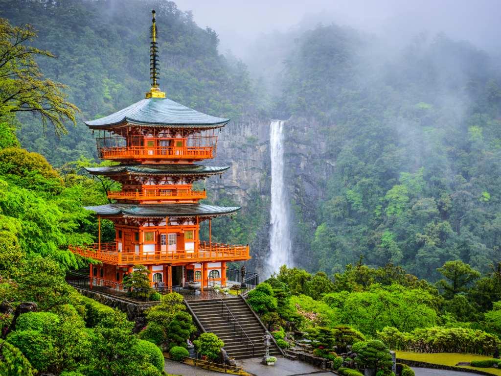 Nachi, Japan at Nachi Taisha Shrine Pagoda and waterfall.