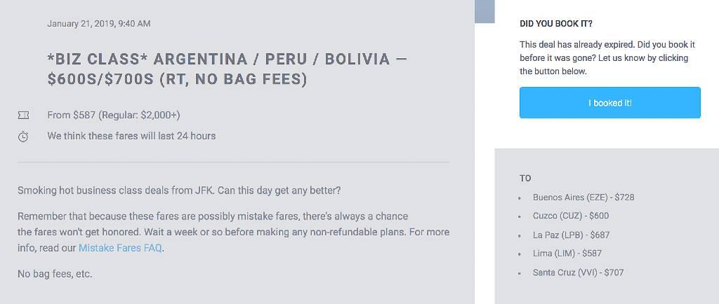 capture d'écran de l'accord avec l'Amérique du Sud