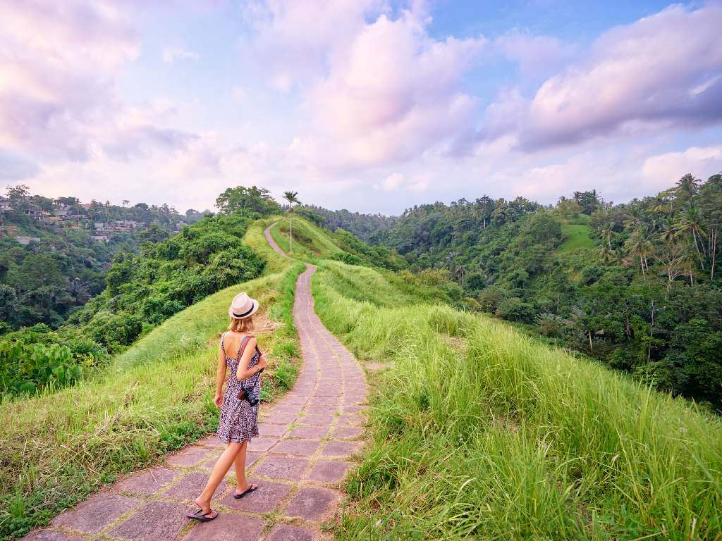 walking in Bali.