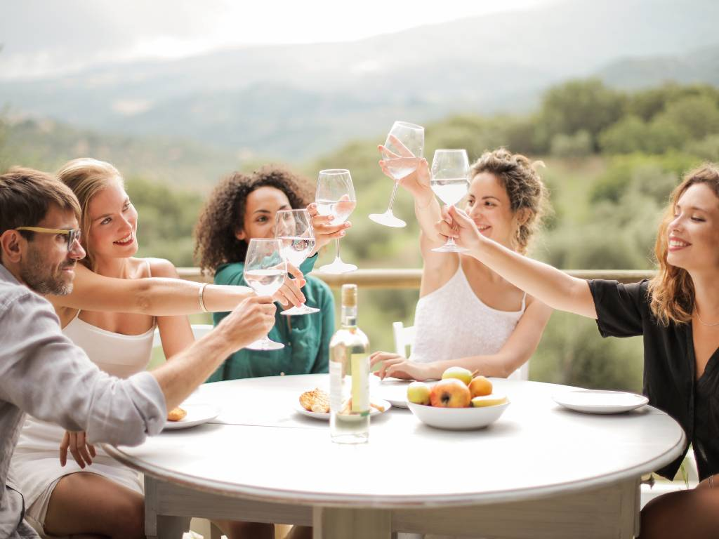 group of friends drinking wine.