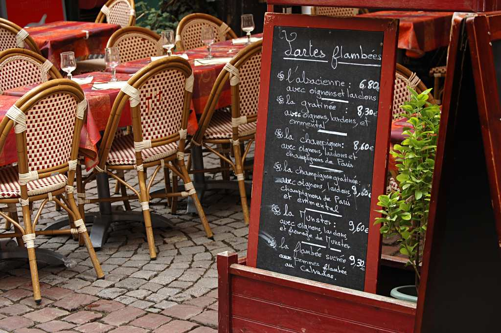 menu of the day in France.