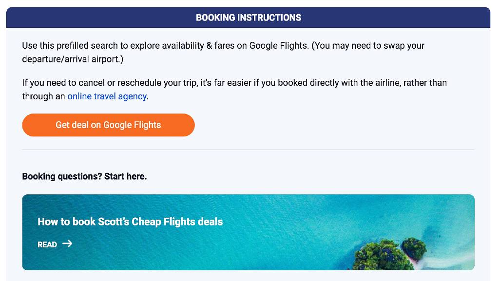 booking instructions